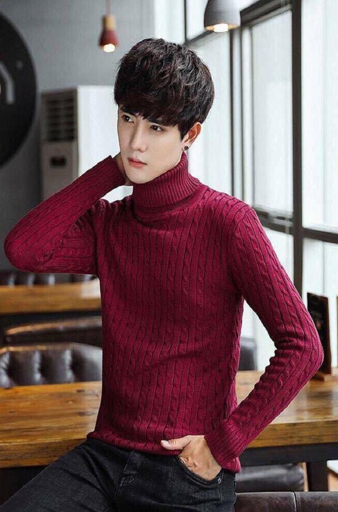 áo len cổ lọ lăn thừng màu đỏ