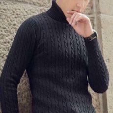áo len nam cổ lọ lắn thừng đen